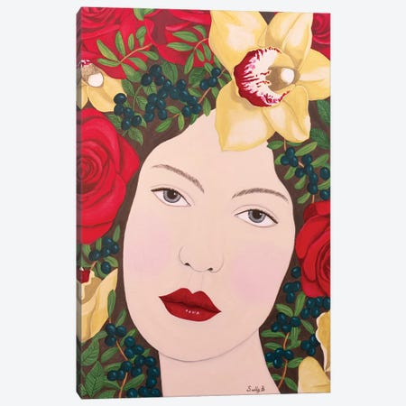Woman With Roses And Orchids In Hair Canvas Print #SLY50} by Sally B Art Print