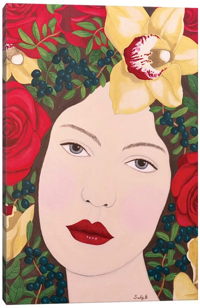 Woman With Roses And Orchids In Hair Canvas Art Print
