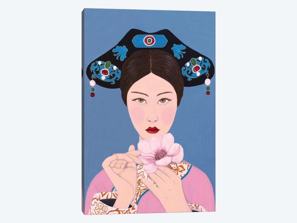 Chinese Woman Holding Flore by Sally B 1-piece Art Print