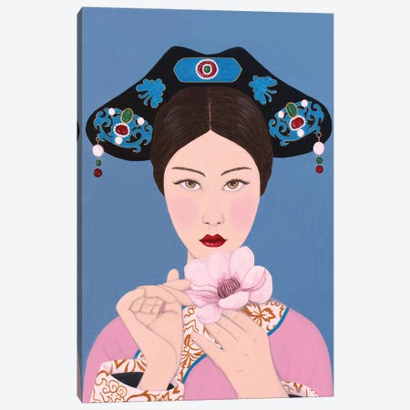 Chinese Woman Holding Flore Canvas Print #SLY52} by Sally B Canvas Print