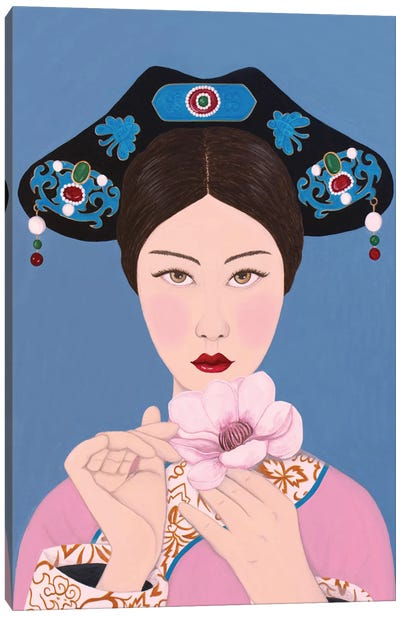 Chinese Woman Holding Flore Canvas Art Print