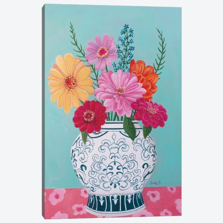 Chinoiserie Vase And Zinnia Canvas Print #SLY53} by Sally B Art Print