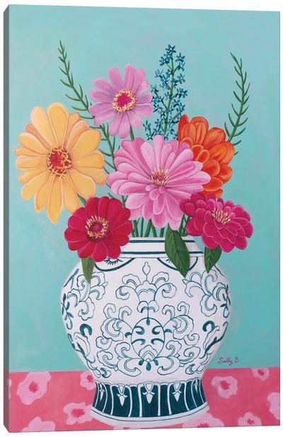 Chinoiserie Vase And Zinnia Canvas Art Print
