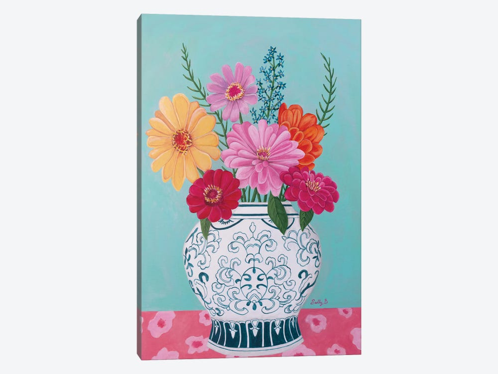 Chinoiserie Vase And Zinnia by Sally B 1-piece Canvas Artwork