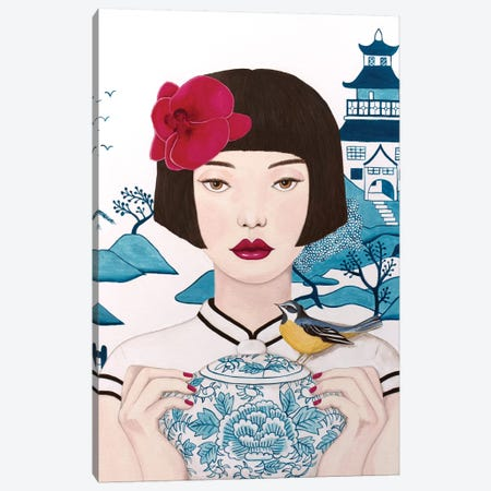 Chinese Woman With Pot And Bird Canvas Print #SLY54} by Sally B Canvas Wall Art