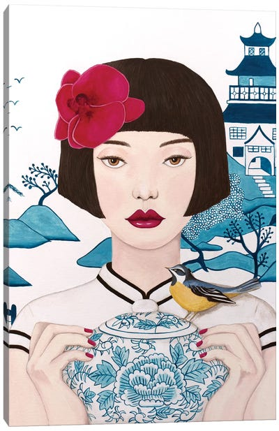 Chinese Woman With Pot And Bird Canvas Art Print
