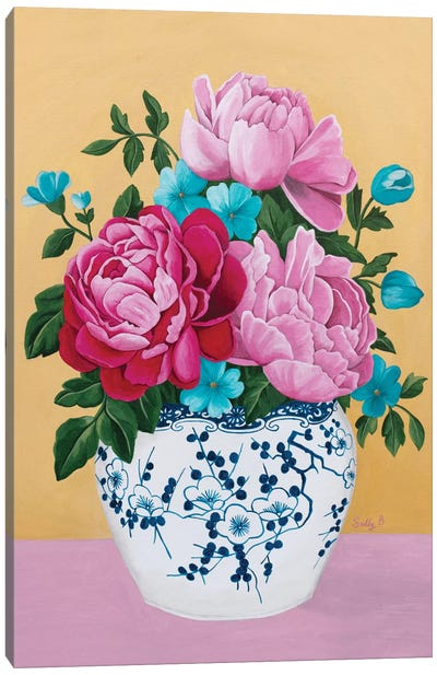 Chinoiserie Vase And Peony Canvas Art Print