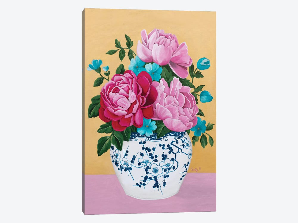 Chinoiserie Vase And Peony by Sally B 1-piece Canvas Art