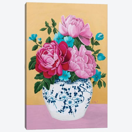 Chinoiserie Vase And Peony Canvas Print #SLY55} by Sally B Canvas Wall Art