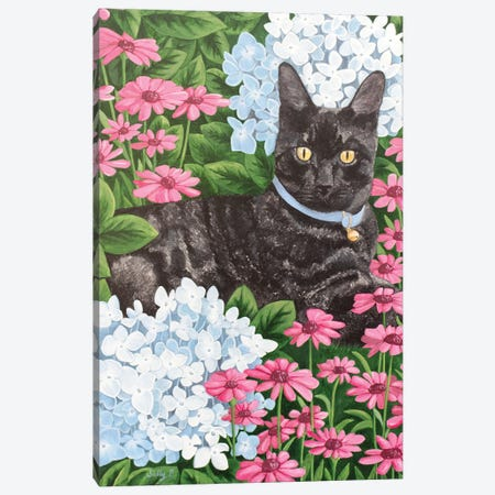 Black Cat With Hydrangea And Daisy Canvas Print #SLY56} by Sally B Canvas Artwork
