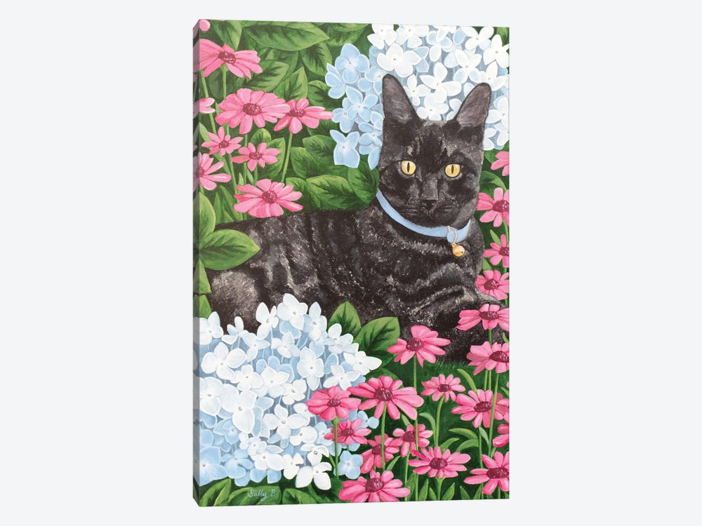 Black Cat With Hydrangea And Daisy by Sally B 1-piece Art Print