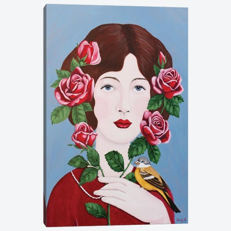 Woman With Roses And Bird 3-Piece Canvas #SLY58} by Sally B Canvas Print