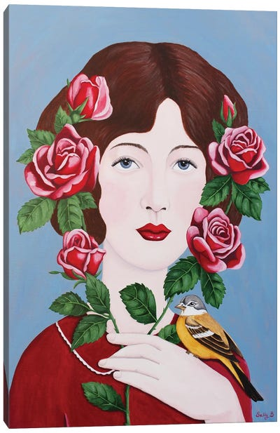 Woman With Roses And Bird Canvas Art Print