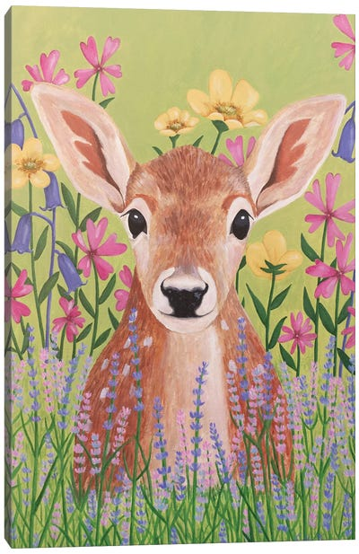 Deer In Garden Canvas Art Print