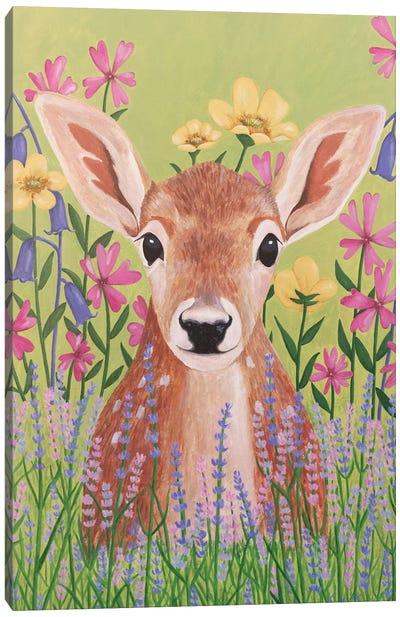Deer In Garden Canvas Art Print