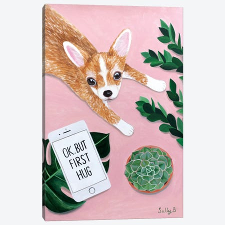 Chihuahua With Phone 3-Piece Canvas #SLY5} by Sally B Art Print