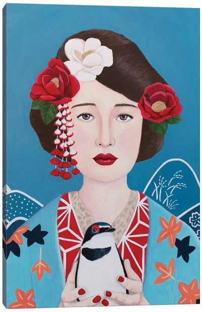 Japanese Woman With Bird Canvas Art Print