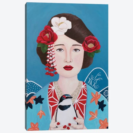 Japanese Woman With Bird Canvas Print #SLY60} by Sally B Canvas Art