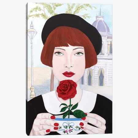 French Woman With Rose Canvas Print #SLY61} by Sally B Canvas Artwork