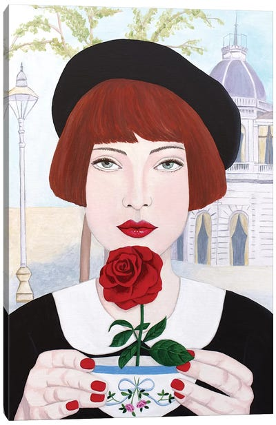 French Woman With Rose Canvas Art Print