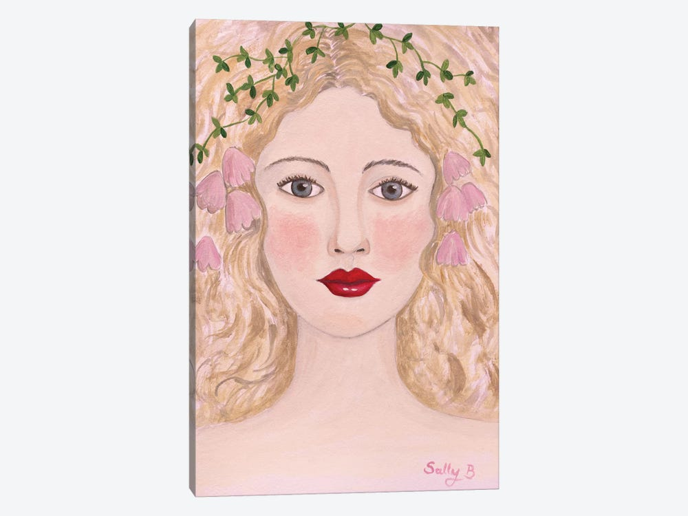 Woman Portrait With Pink Flowers by Sally B 1-piece Canvas Artwork