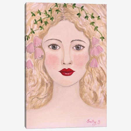 Woman Portrait With Pink Flowers Canvas Print #SLY62} by Sally B Canvas Wall Art
