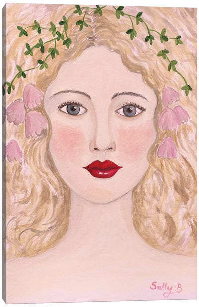 Woman Portrait With Pink Flowers Canvas Art Print