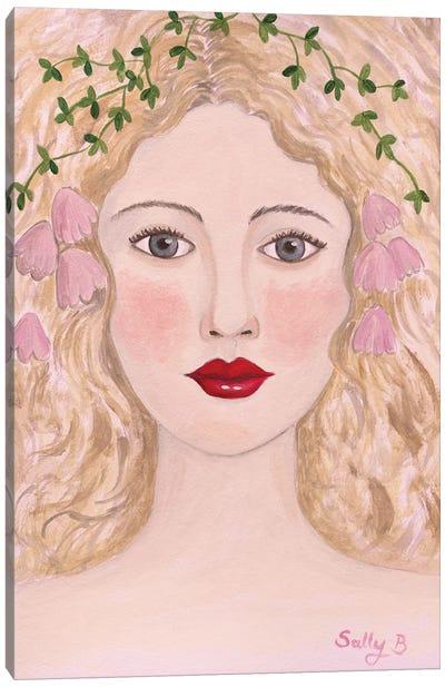 Woman Portrait With Pink Flowers Canvas Art Print