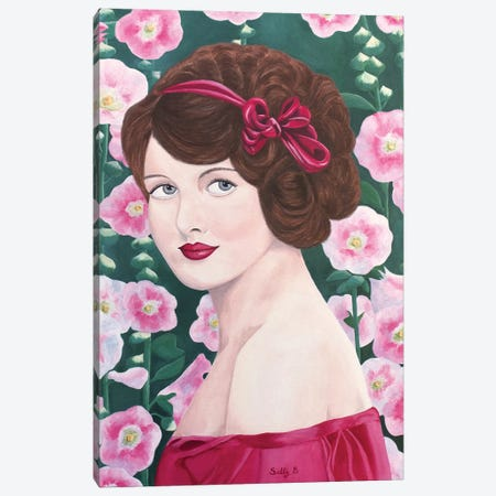 Woman With Hollyhocks Canvas Print #SLY63} by Sally B Canvas Art