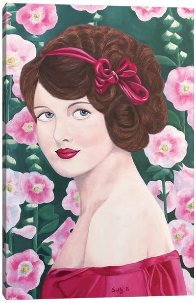 Woman With Hollyhocks Canvas Art Print