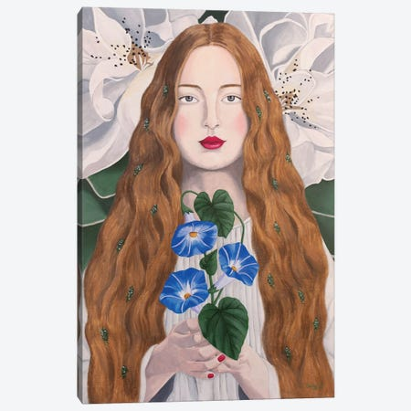 Woman With Morning Glory Canvas Print #SLY64} by Sally B Canvas Art Print