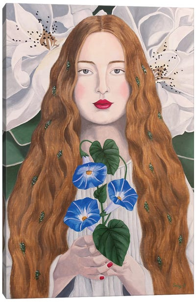 Woman With Morning Glory Canvas Art Print