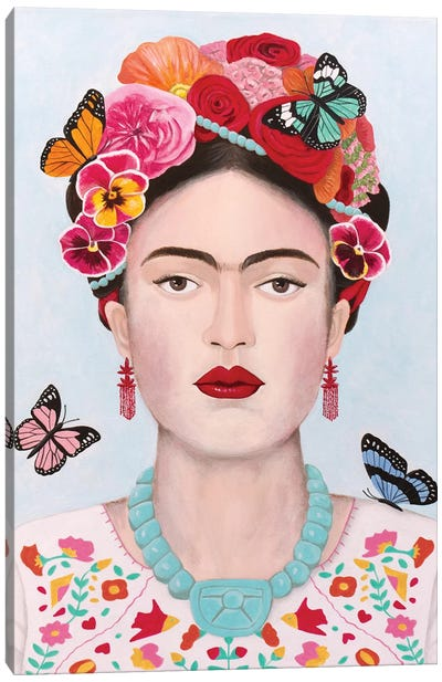 Frida Kahlo And Butterflies Canvas Art Print