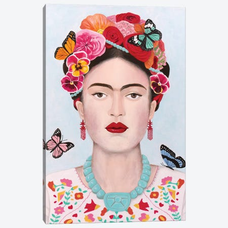 Frida Kahlo And Butterflies Canvas Print #SLY65} by Sally B Art Print