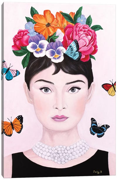 Audrey Hepburn And Butterflies Canvas Art Print