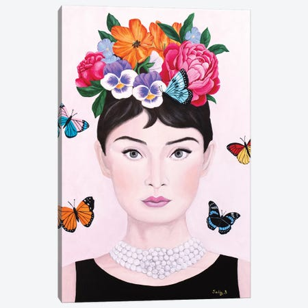 Audrey Hepburn And Butterflies Canvas Print #SLY66} by Sally B Canvas Print