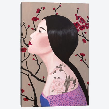 Chinese Woman With Tattoo Canvas Print #SLY67} by Sally B Art Print