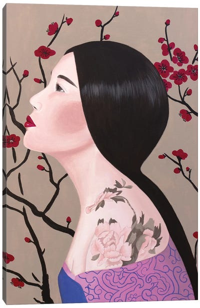 Chinese Woman With Tattoo Canvas Art Print