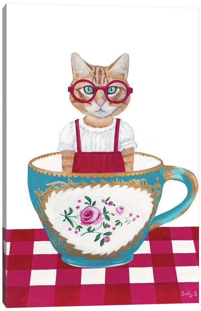 Ginger Cat In A Cup Canvas Art Print