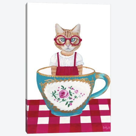 Ginger Cat In A Cup Canvas Print #SLY68} by Sally B Canvas Artwork