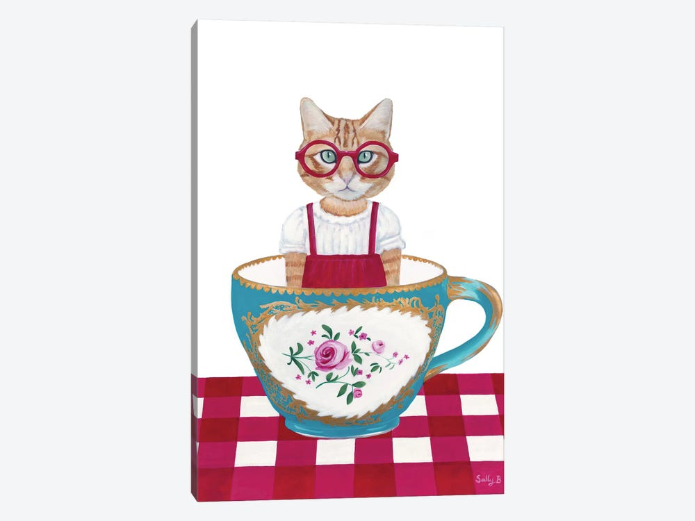 Ginger Cat In A Cup by Sally B 1-piece Canvas Art