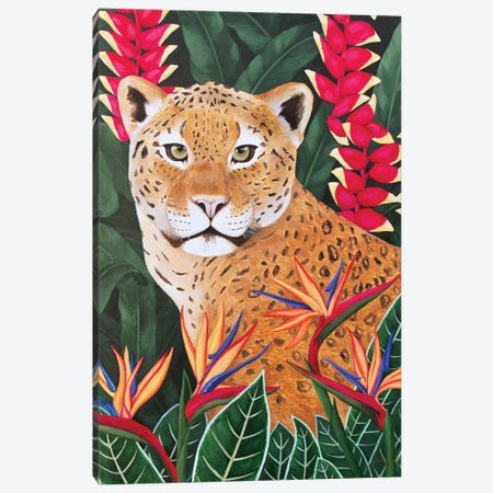 Leopard In Jungle Canvas Print #SLY69} by Sally B Canvas Artwork
