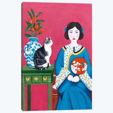 Chinese Woman And Cat Canvas Print #SLY6} by Sally B Art Print