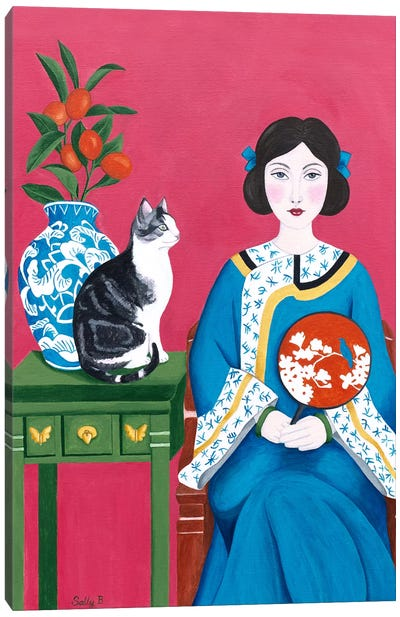 Chinese Woman And Cat Canvas Art Print
