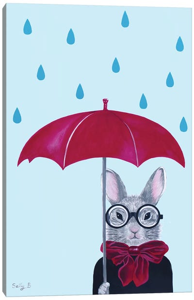 Rabbit With Red Umbrella In The Rain Canvas Art Print