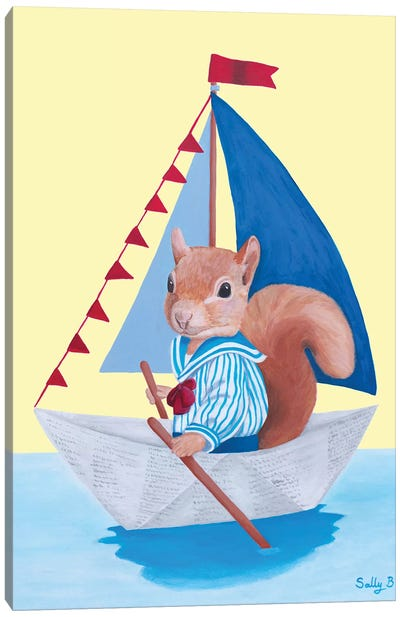 Squirrel Sailing On A Paper Boat Canvas Art Print