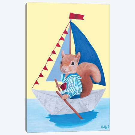 Squirrel Sailing On A Paper Boat Canvas Print #SLY71} by Sally B Canvas Print