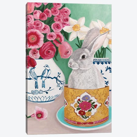 Rabbit With Roses And Daffodils Canvas Print #SLY72} by Sally B Art Print