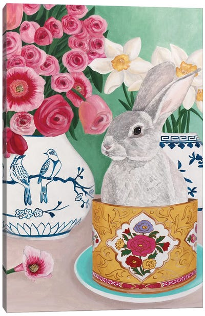Rabbit With Roses And Daffodils Canvas Art Print