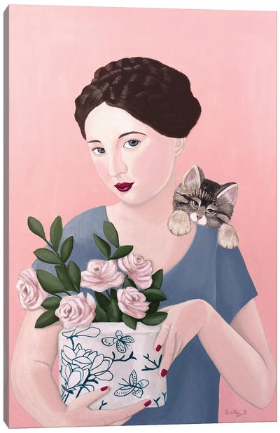 Woman With Cat And Roses Canvas Art Print